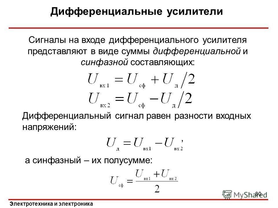Дифференциальные усилители Электротехника и электроника Сигналы на входе дифференциального усилителя представляют в виде суммы дифференциальной и синфазной составляющих: Дифференциальный сигнал равен разности входных напряжений:, а синфазный – их пол