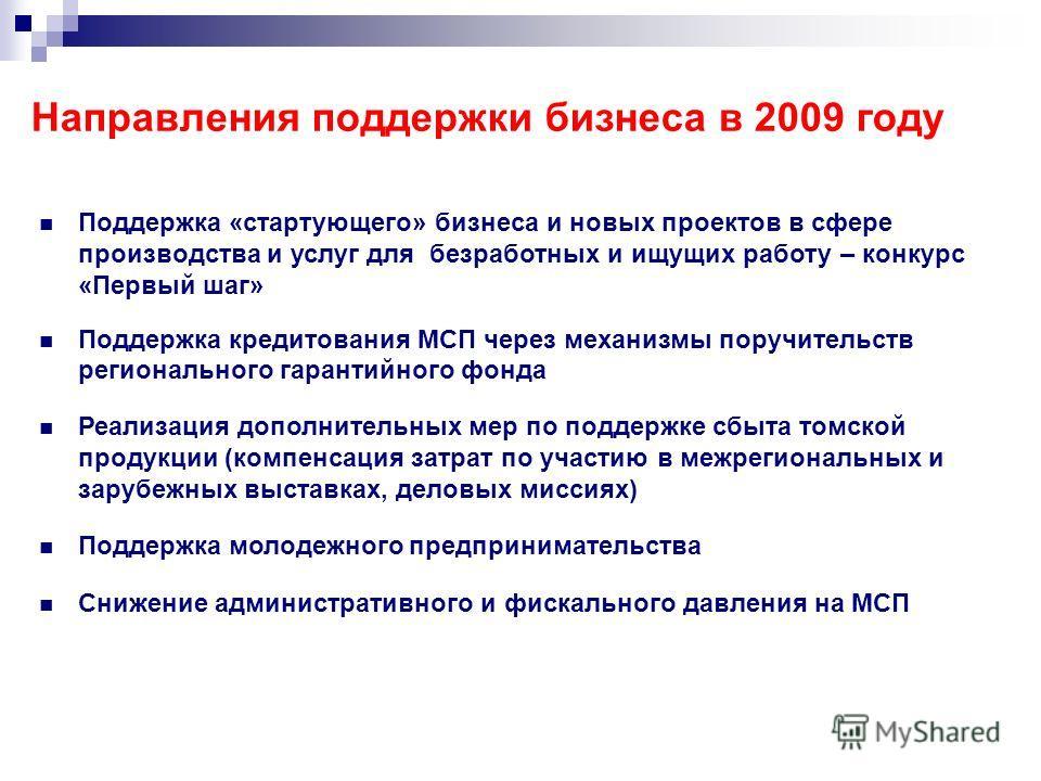 Направления поддержки бизнеса в 2009 году Поддержка «стартующего» бизнеса и новых проектов в сфере производства и услуг для безработных и ищущих работу – конкурс «Первый шаг» Поддержка кредитования МСП через механизмы поручительств регионального гара