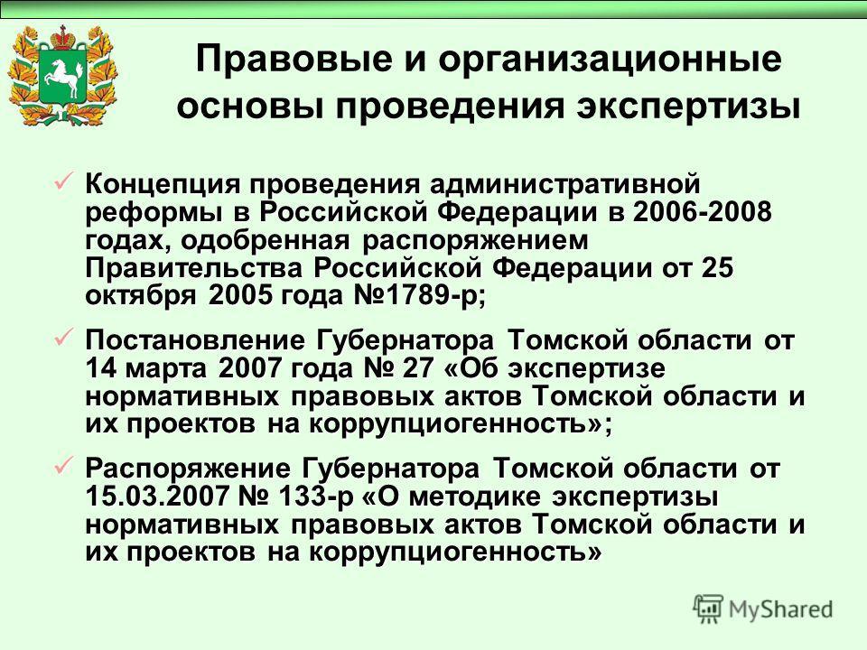 Правовые и организационные основы проведения экспертизы Концепция проведения административной реформы в Российской Федерации в 2006-2008 годах, одобренная распоряжением Правительства Российской Федерации от 25 октября 2005 года 1789-р; Концепция пров