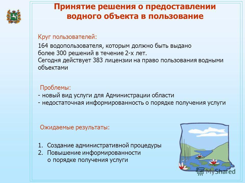 - новый вид услуги для Администрации области - недостаточная информированность о порядке получения услуги 164 водопользователя, которым должно быть выдано более 300 решений в течение 2-х лет. Сегодня действует 383 лицензии на право пользования водным