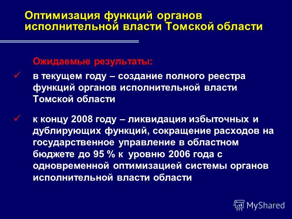6 Ожидаемые результаты: в текущем году – создание полного реестра функций органов исполнительной власти Томской области к концу 2008 году – ликвидация избыточных и дублирующих функций, сокращение расходов на государственное управление в областном бюд