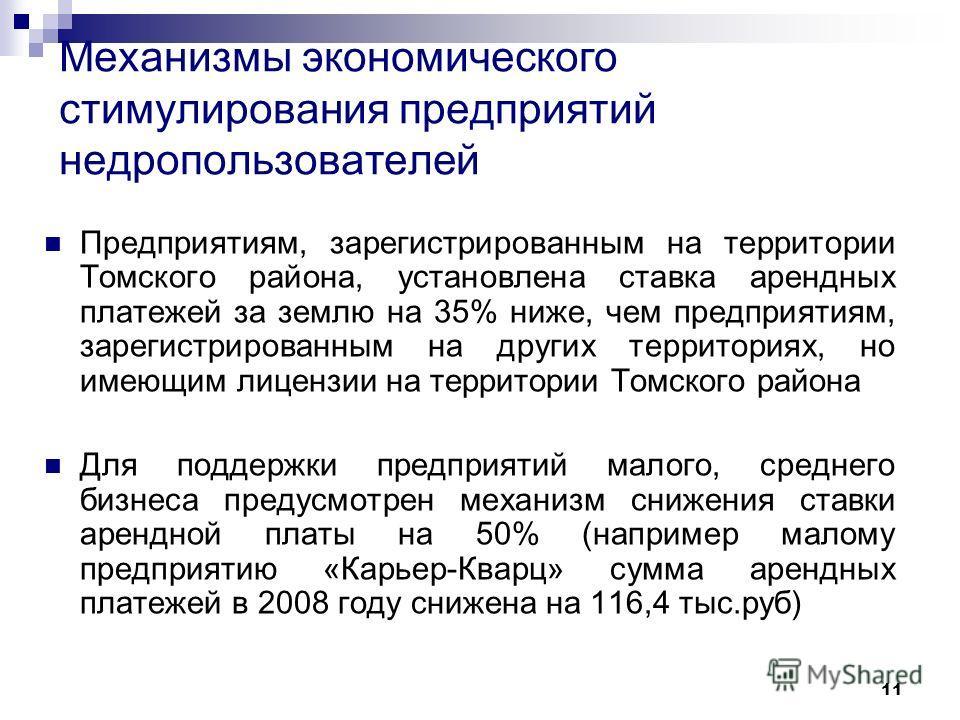 11 Механизмы экономического стимулирования предприятий недропользователей Предприятиям, зарегистрированным на территории Томского района, установлена ставка арендных платежей за землю на 35% ниже, чем предприятиям, зарегистрированным на других террит