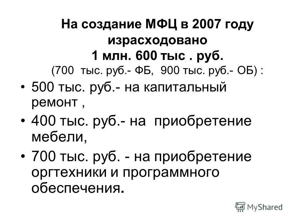 На создание МФЦ в 2007 году израсходовано 1 млн. 600 тыс. руб. (700 тыс. руб.- ФБ, 900 тыс. руб.- ОБ) : 500 тыс. руб.- на капитальный ремонт, 400 тыс. руб.- на приобретение мебели, 700 тыс. руб. - на приобретение оргтехники и программного обеспечения