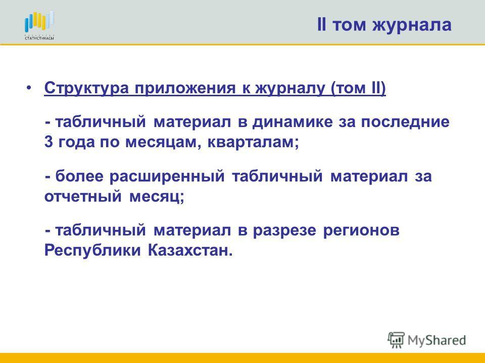 II том журнала Структура приложения к журналу (том II) - табличный материал в динамике за последние 3 года по месяцам, кварталам; - более расширенный табличный материал за отчетный месяц; - табличный материал в разрезе регионов Республики Казахстан.