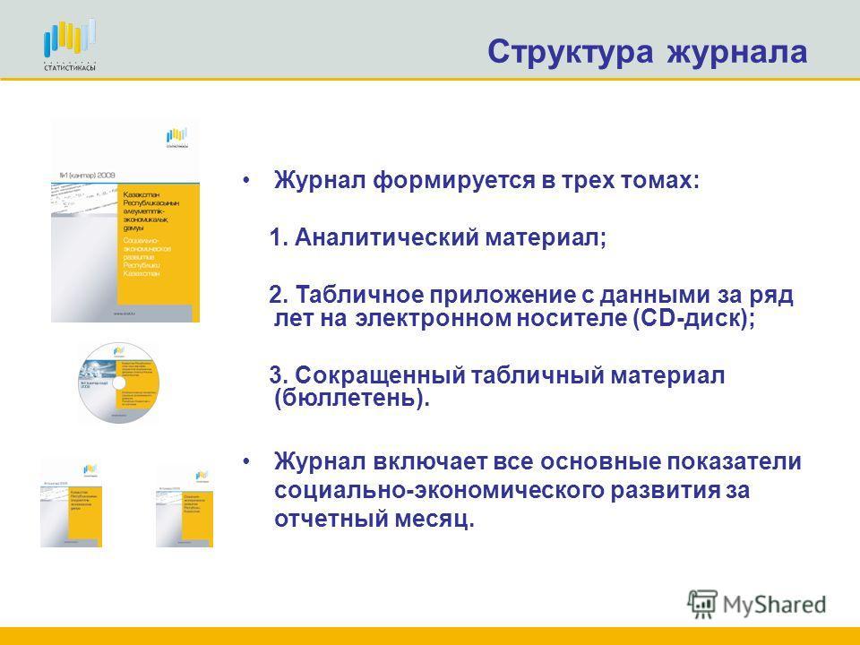 Структура журнала Журнал представляет собой ежемесячный анализ социально-экономического положения Казахстана и его регионов на основе оперативных статистических данных за 2009 год. Содержит большой текстовой материал о развитии в реальном секторе эко