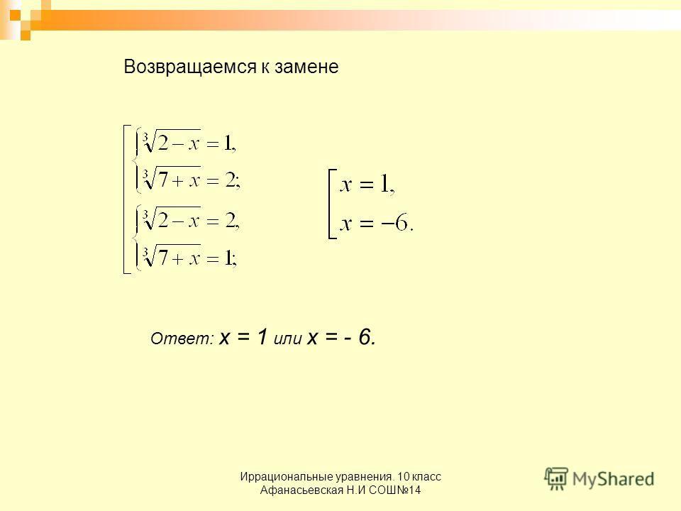 Иррациональные уравнения. 10 класс Афанасьевская Н.И СОШ14 Возвращаемся к замене Ответ: х = 1 или х = - 6.