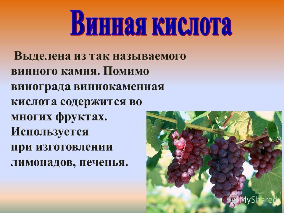 Выделена из так называемого винного камня. Помимо винограда виннокаменная кислота содержится во многих фруктах. Используется при изготовлении лимонадов, печенья.