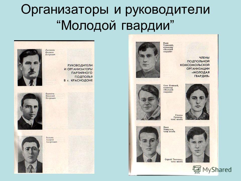 Организаторы и руководители Молодой гвардии