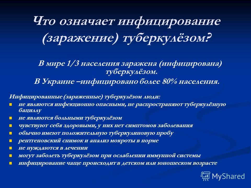 Что означает инфицирование (заражение) туберкулёзом? В мире 1/3 населения заражена (инфицирована) туберкулёзом. В Украине –инфицировано более 80% населения. Инфицированные (зараженные) туберкулёзом люди: не являются инфекционно опасными, не распростр