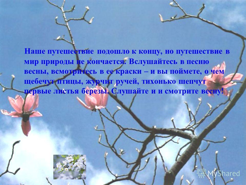 Наше путешествие подошло к концу, но путешествие в мир природы не кончается. Вслушайтесь в песню весны, всмотритесь в ее краски – и вы поймете, о чем щебечут птицы, журчит ручей, тихонько шепчут первые листья березы. Слушайте и и смотрите весну!