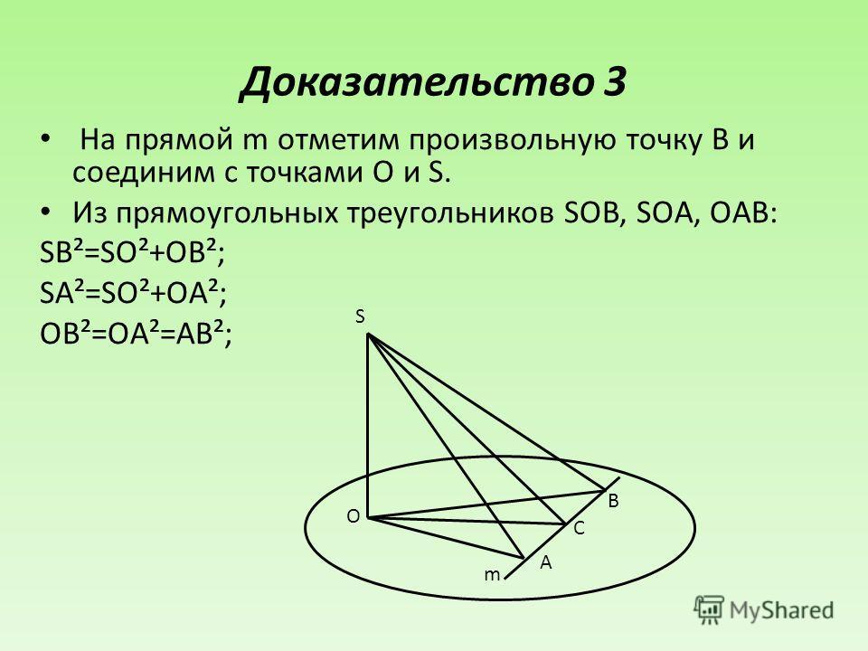 Доказательство 3 На прямой m отметим произвольную точку B и соединим с точками O и S. Из прямоугольных треугольников SOB, SOA, OAB: SB²=SO²+OB²; SA²=SO²+OA²; OB²=OA²=AB²; S O B C A m