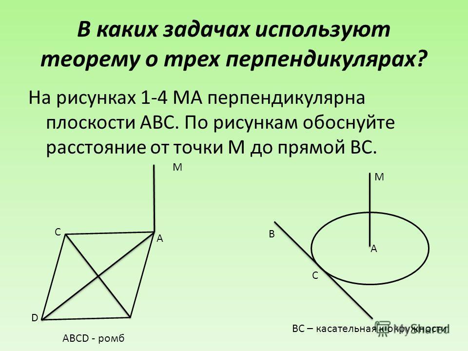 В каких задачах используют теорему о трех перпендикулярах? На рисунках 1-4 МА перпендикулярна плоскости АВС. По рисункам обоснуйте расстояние от точки М до прямой ВС. D C A M ABCD - ромб A C B M ВС – касательная к окружности