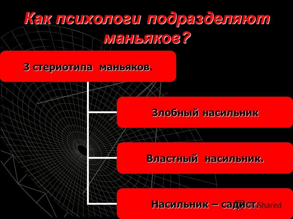 Как психологи подразделяют маньяков? 3 стериотипа маньяков 3 стериотипа маньяков. Злобный насильник Властный насильник. Насильник – садист.