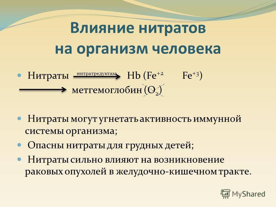 Нитраты нитратредуктаза Hb (Fe +2 Fe +3 ) метгемоглобин (O 2 ) Нитраты могут угнетать активность иммунной системы организма; Опасны нитраты для грудных детей; Нитраты сильно влияют на возникновение раковых опухолей в желудочно-кишечном тракте. Влияни