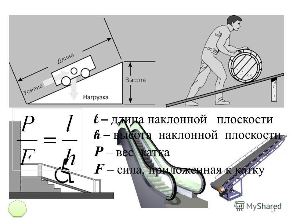 11 l – длина наклонной плоскости h – высота наклонной плоскости P – вес катка F – сила, приложенная к катку
