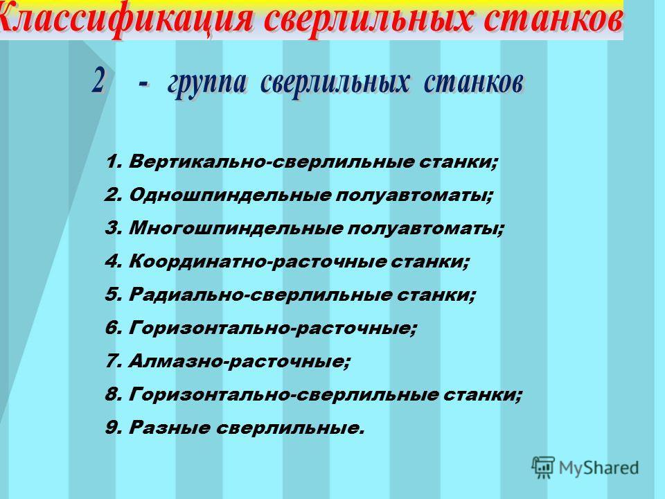 1. Вертикально-сверлильные станки; 2. Одношпиндельные полуавтоматы; 3. Многошпиндельные полуавтоматы; 4. Координатно-расточные станки; 5. Радиально-сверлильные станки; 6. Горизонтально-расточные; 7. Алмазно-расточные; 8. Горизонтально-сверлильные ста