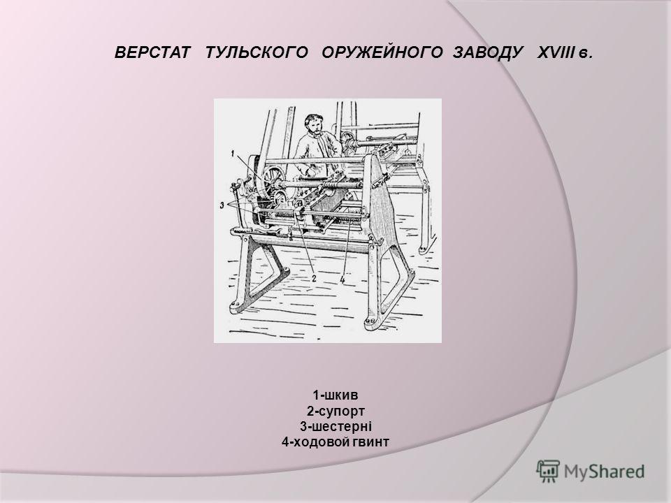 ВЕРСТАТ ТУЛЬСКОГО ОРУЖЕЙНОГО ЗАВОДУ XVIII в. 1-шкив 2-супорт 3-шестерні 4-ходовой гвинт