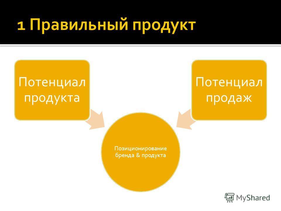 Позиционирование бренда & продукта Потенциал продукта Потенциал продаж