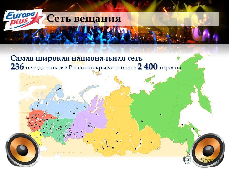 Сеть вещания Самая широкая национальная сеть 2362 400 236 передатчиков в России покрывают более 2 400 городов