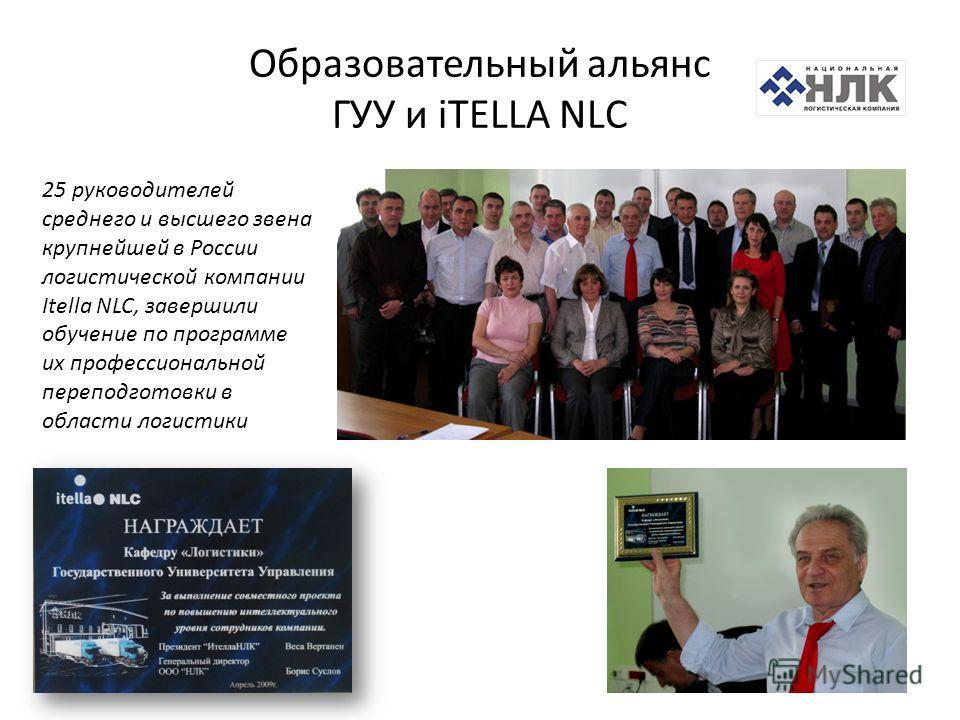 Образовательный альянс ГУУ и iTELLA NLС 25 руководителей среднего и высшего звена крупнейшей в России логистической компании Itella NLC, завершили обучение по программе их профессиональной переподготовки в области логистики