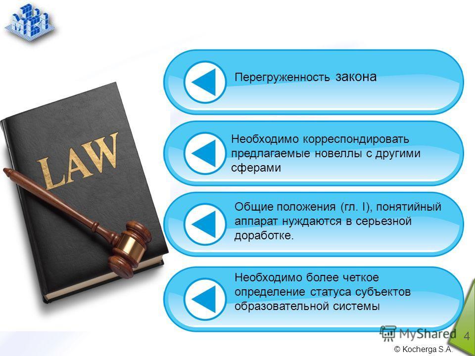 © Kocherga S.A. 4 Перегруженность закона Необходимо корреспондировать предлагаемые новеллы с другими сферами Общие положения (гл. I), понятийный аппарат нуждаются в серьезной доработке. Необходимо более четкое определение статуса субъектов образовате