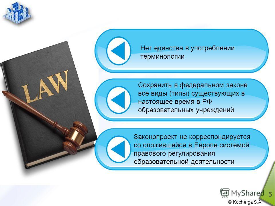© Kocherga S.A. 5. Нет единства в употреблении терминологии Сохранить в федеральном законе все виды (типы) существующих в настоящее время в РФ образовательных учреждений Законопроект не корреспондируется со сложившейся в Европе системой правового рег