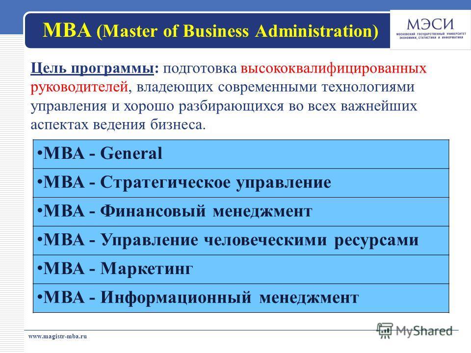 МВА (Master of Business Administration) МВА - General МВА - Стратегическое управление МВА - Финансовый менеджмент МВА - Управление человеческими ресурсами МВА - Маркетинг МВА - Информационный менеджмент www.magistr-mba.ru Цель программы: подготовка в