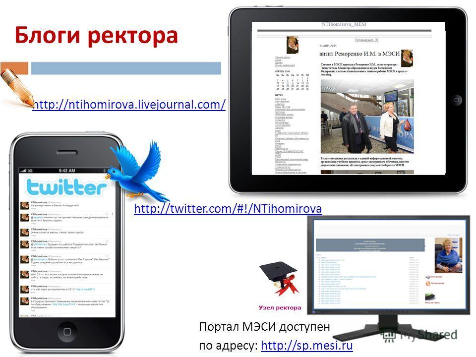 http://ntihomirova.livejournal.com/ http://twitter.com/#!/NTihomirova Блоги ректора Портал МЭСИ доступен по адресу: http://sp.mesi.ruhttp://sp.mesi.ru