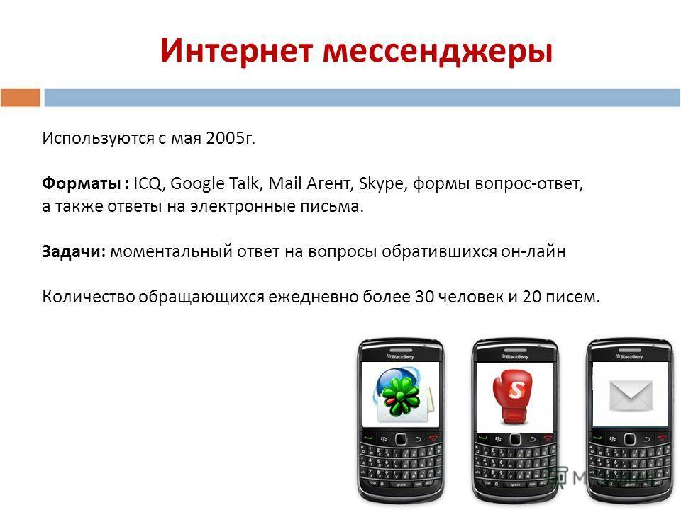 Интернет мессенджеры Используются с мая 2005г. Форматы : ICQ, Google Talk, Mail Агент, Skype, формы вопрос-ответ, а также ответы на электронные письма. Задачи: моментальный ответ на вопросы обратившихся он-лайн Количество обращающихся ежедневно более