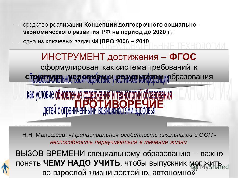 средство реализации Концепции долгосрочного социально- экономического развития РФ на период до 2020 г.; одна из ключевых задач ФЦПРО 2006 – 2010 ИНСТРУМЕНТ достижения – ФГОС сформулирован как система требований к структуре, условиям и результатам обр