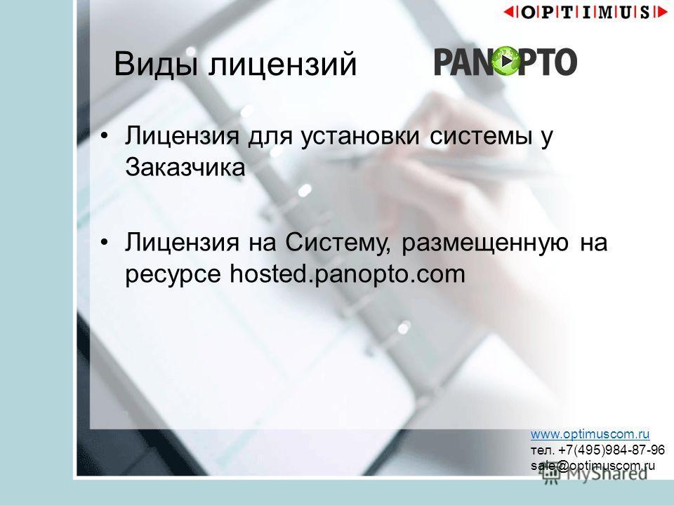 Виды лицензий Лицензия для установки системы у Заказчика Лицензия на Систему, размещенную на ресурсе hosted.panopto.com www.optimuscom.ru тел. +7(495)984-87-96 sale@optimuscom.ru