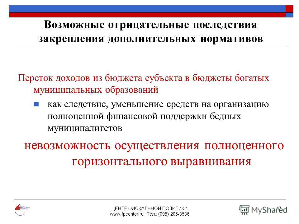 ЦЕНТР ФИСКАЛЬНОЙ ПОЛИТИКИ www.fpcenter.ru Тел.: (095) 205-3536 17 Возможные отрицательные последствия закрепления дополнительных нормативов Переток доходов из бюджета субъекта в бюджеты богатых муниципальных образований как следствие, уменьшение сред