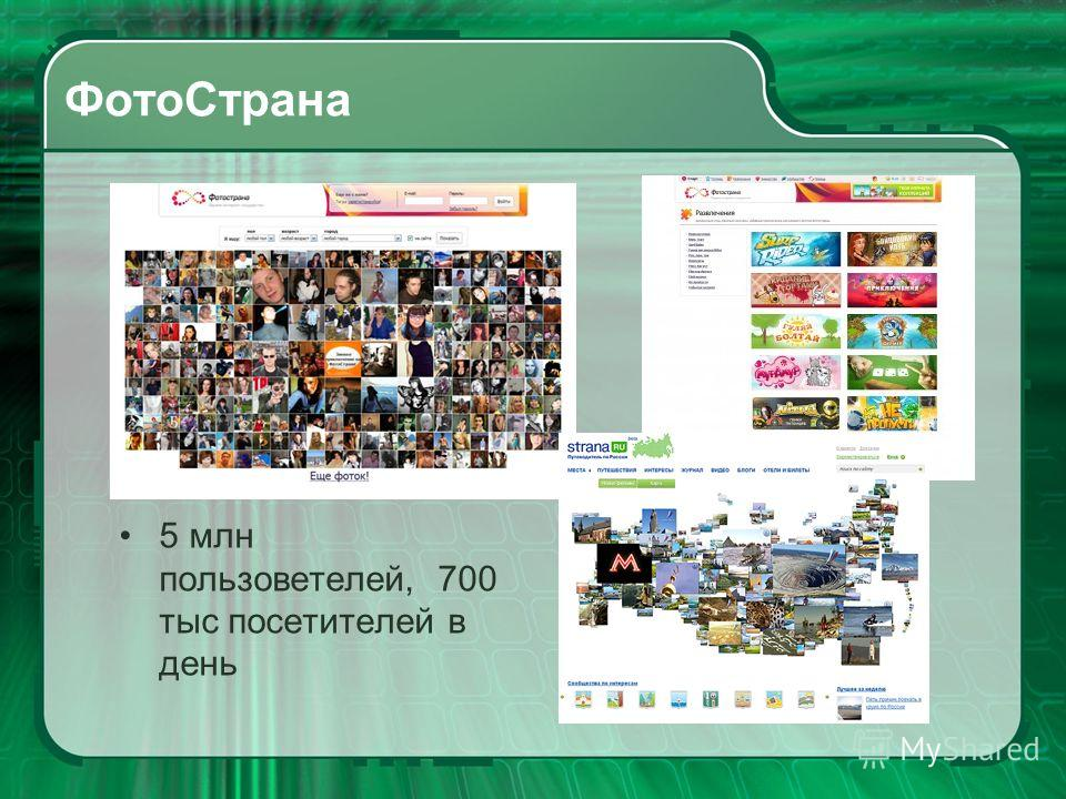 ФотоСтрана 5 млн пользоветелей, 700 тыс посетителей в день