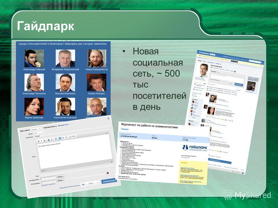 Гайдпарк Новая социальная сеть, ~ 500 тыс посетителей в день