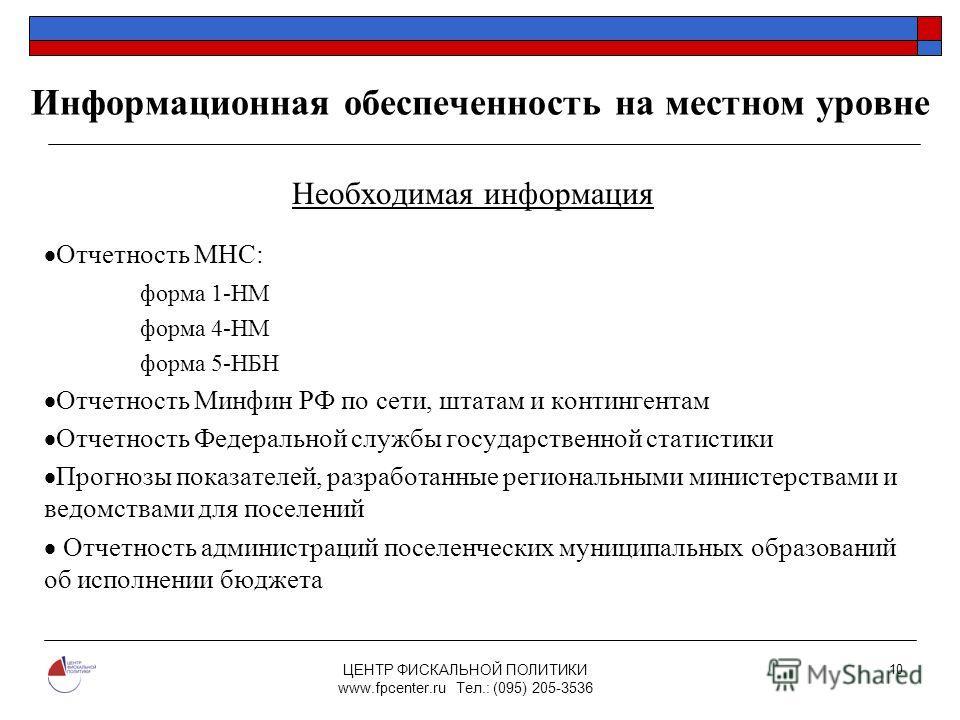 ЦЕНТР ФИСКАЛЬНОЙ ПОЛИТИКИ www.fpcenter.ru Тел.: (095) 205-3536 10 Информационная обеспеченность на местном уровне Необходимая информация Отчетность МНС: форма 1-НМ форма 4-НМ форма 5-НБН Отчетность Минфин РФ по сети, штатам и контингентам Отчетность