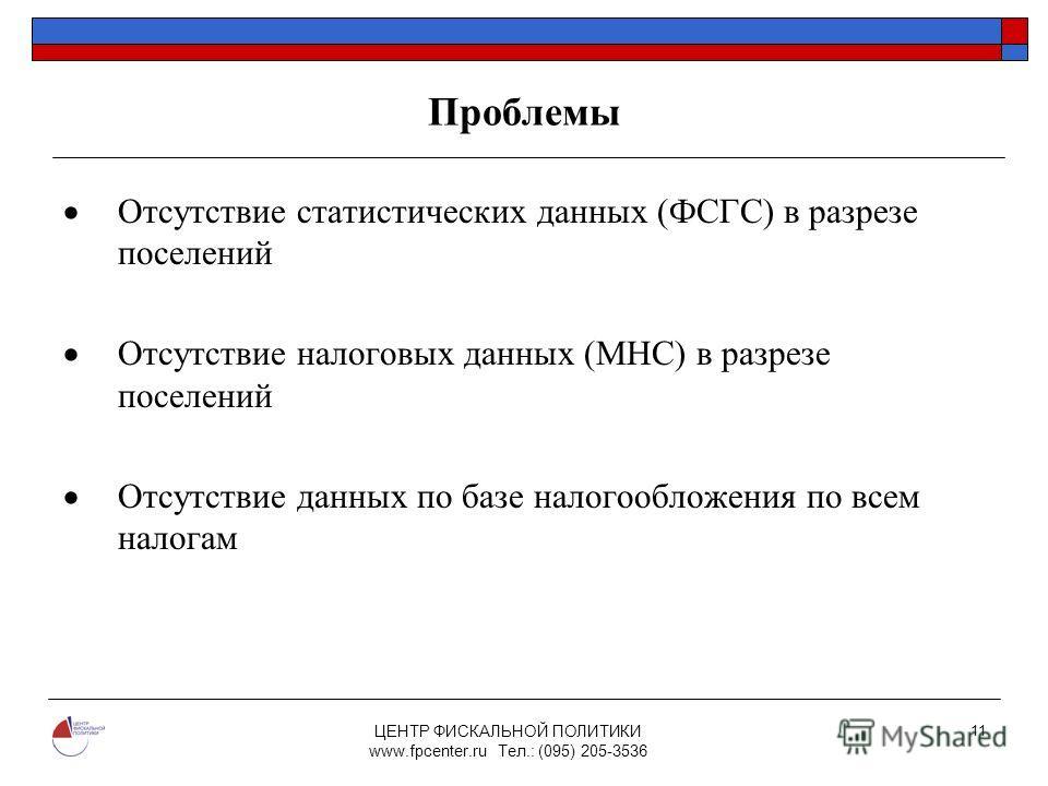 ЦЕНТР ФИСКАЛЬНОЙ ПОЛИТИКИ www.fpcenter.ru Тел.: (095) 205-3536 11 Проблемы Отсутствие статистических данных (ФСГС) в разрезе поселений Отсутствие налоговых данных (МНС) в разрезе поселений Отсутствие данных по базе налогообложения по всем налогам