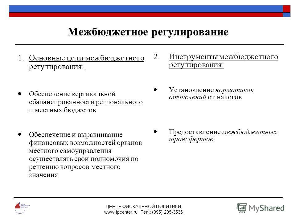 ЦЕНТР ФИСКАЛЬНОЙ ПОЛИТИКИ www.fpcenter.ru Тел.: (095) 205-3536 3 Межбюджетное регулирование 1.Основные цели межбюджетного регулирования: Обеспечение вертикальной сбалансированности регионального и местных бюджетов Обеспечение и выравнивание финансовы