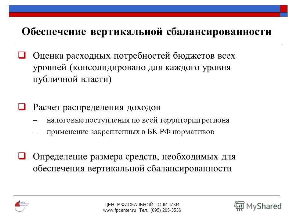ЦЕНТР ФИСКАЛЬНОЙ ПОЛИТИКИ www.fpcenter.ru Тел.: (095) 205-3536 8 Обеспечение вертикальной сбалансированности Оценка расходных потребностей бюджетов всех уровней (консолидировано для каждого уровня публичной власти) Расчет распределения доходов налого
