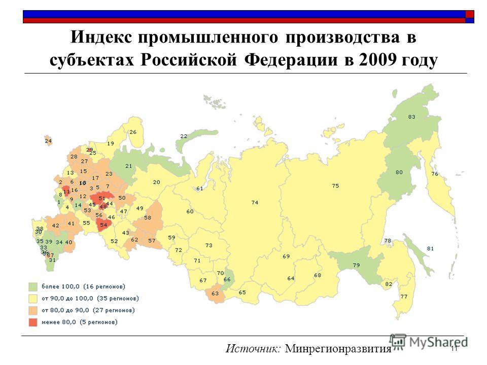 Индекс промышленного производства в субъектах Российской Федерации в 2009 году 11 Источник: Минрегионразвития