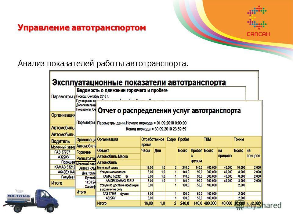 Управление автотранспортом Анализ показателей работы автотранспорта.