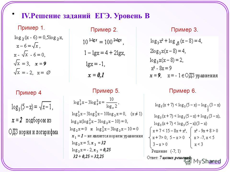IV.Решение заданий ЕГЭ. Уровень B Пример 1. Пример 4 Пример 3.Пример 2. Пример 5.Пример 6.