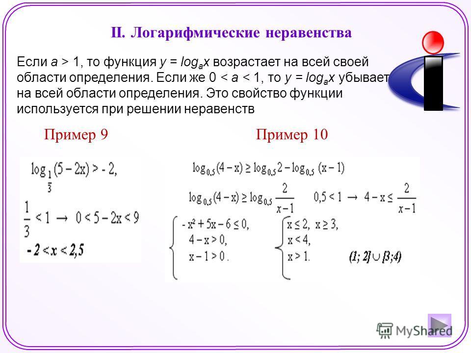 II. Логарифмические неравенства Если а > 1, то функция у = log a x возрастает на всей своей области определения. Если же 0 < а < 1, то у = log a x убывает на всей области определения. Это свойство функции используется при решении неравенств Пример 9П