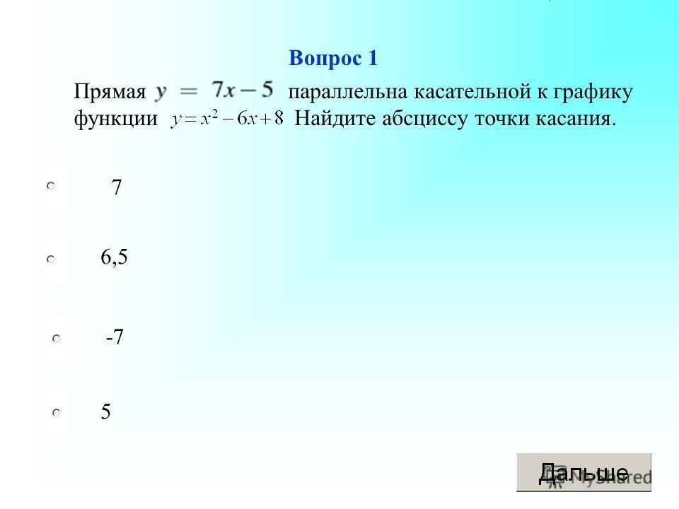 Вопрос 1 7 6,5 -7 5 Прямая параллельна касательной к графику функции Найдите абсциссу точки касания.