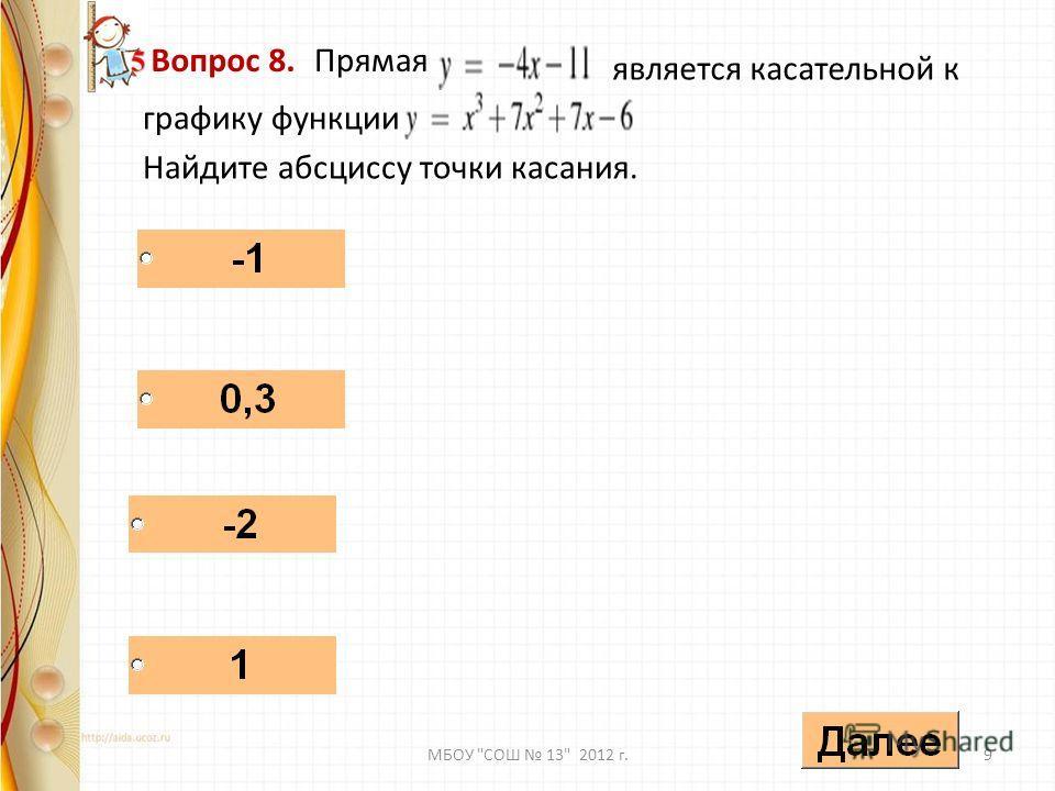- Вопрос 8. Прямая является касательной к графику функции Найдите абсциссу точки касания. 9МБОУ СОШ 13 2012 г.
