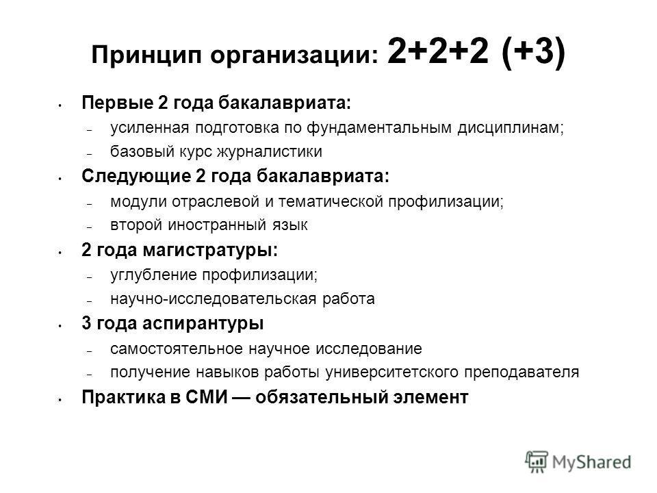 Принцип организации: 2+2+2 (+3) Первые 2 года бакалавриата: – усиленная подготовка по фундаментальным дисциплинам; – базовый курс журналистики Следующие 2 года бакалавриата: – модули отраслевой и тематической профилизации; – второй иностранный язык 2