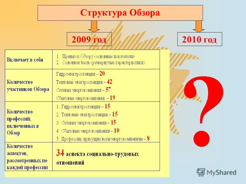 Структура Обзора 2009 год2010 год ?