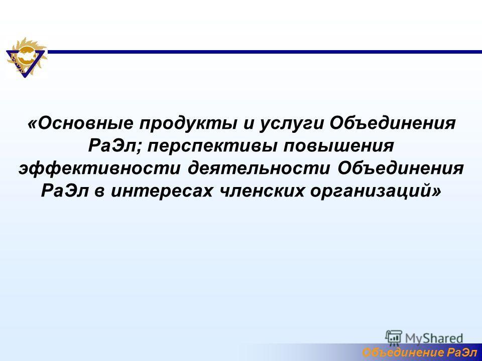 Объединение РаЭл «Основные продукты и услуги Объединения РаЭл; перспективы повышения эффективности деятельности Объединения РаЭл в интересах членских организаций»