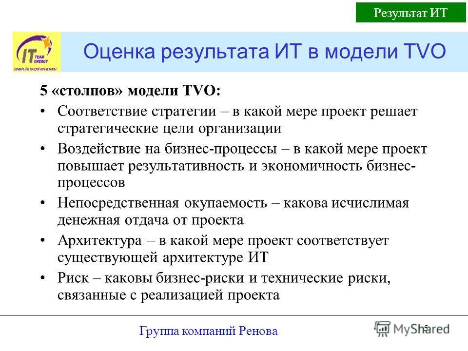 Группа компаний Ренова 5 Оценка результата ИТ в модели TVO 5 «столпов» модели TVO: Соответствие стратегии – в какой мере проект решает стратегические цели организации Воздействие на бизнес-процессы – в какой мере проект повышает результативность и эк
