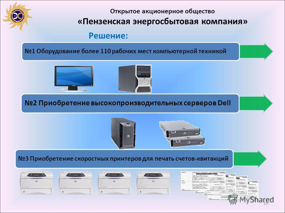 16 Открытое акционерное общество «Пензенская энергосбытовая компания» Решение: 1 Оборудование более 110 рабочих мест компьютерной техникой 2 Приобретение высокопроизводительных серверов Dell 3 Приобретение скоростных принтеров для печать счетов-квита