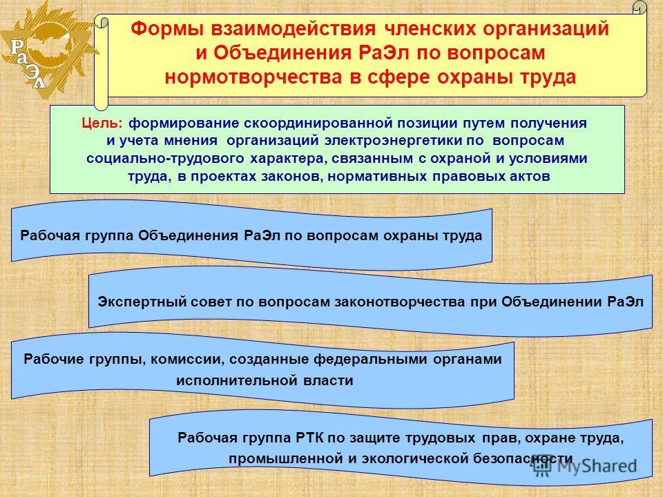 Цель: формирование скоординированной позиции путем получения и учета мнения организаций электроэнергетики по вопросам социально-трудового характера, связанным с охраной и условиями труда, в проектах законов, нормативных правовых актов Формы взаимодей